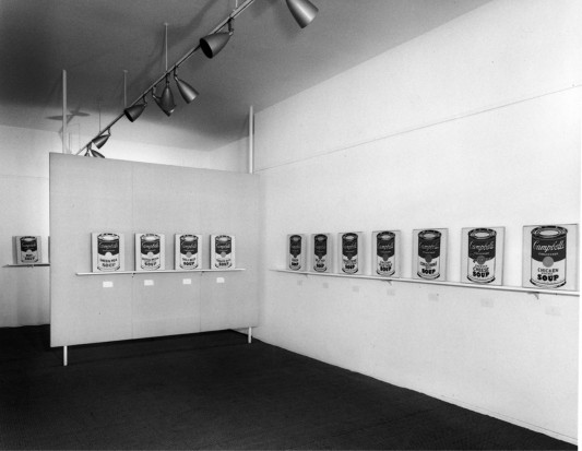 <p>Andy Warhol Soup Cans exhibition at Ferus Gallery, 1962</p>